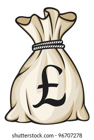 Money bag with pound sign vector illustration