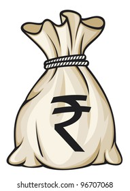Money bag with rupee sign vector illustration