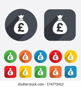 Money bag sign icon. Pound GBP currency symbol. Circles and rounded squares 12 buttons. Vector