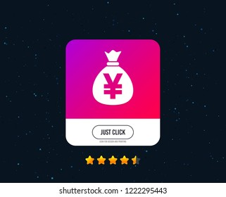 Money bag sign icon. Yen JPY currency symbol. Web or internet icon design. Rating stars. Just click button. Vector