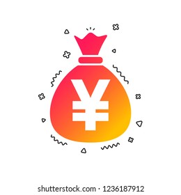 Money bag sign icon. Yen JPY currency symbol. Colorful geometric shapes. Gradient money icon design.  Vector