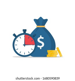 Money bag and stopwatch. Quick loan. Timely payment, financial decision. Quick money. Credit in the short term. Business and finance. Vector illustration flat design.