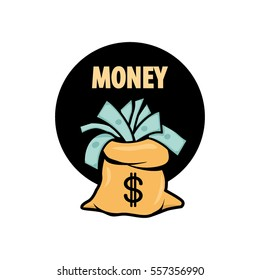 Money bag symbols variations for design and decorate - also as emblem or logo template.