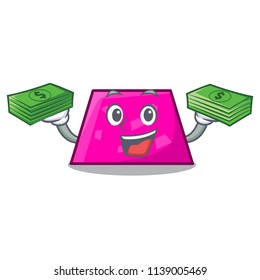 With money bag trapezoid mascot cartoon style
