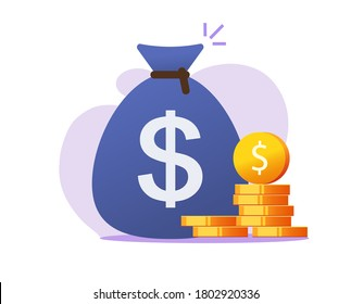 Money bag vector icon, cash sackmoneybag with dollar sign and coins flat cartoon symbol clipart isolated