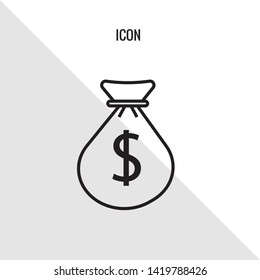 Money bag vector icon illustration sign