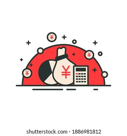 Money bag with yen symbol with graph and calculator. Yen icon in red design. Financial bank bag investment vector illustration deposit