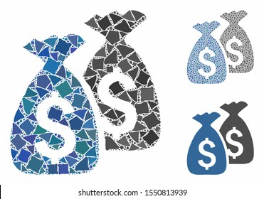 Money bags composition of rugged items in variable sizes and color tints, based on money bags icon. Vector joggly items are grouped into collage. Money bags icons collage with dotted pattern.