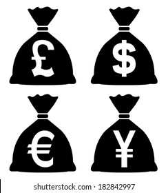 Money Bags with currency symbols