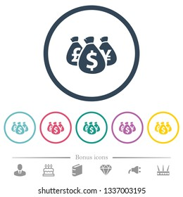Money bags flat color icons in round outlines. 6 bonus icons included.