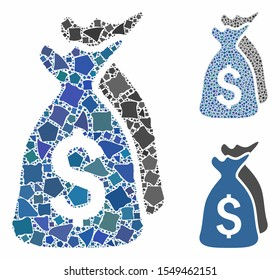 Money bags mosaic of rugged items in various sizes and color hues, based on money bags icon. Vector irregular elements are united into collage. Money bags icons collage with dotted pattern.