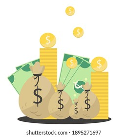 Money bags. Vector illustration of money. Coins and dollars. Wealth background