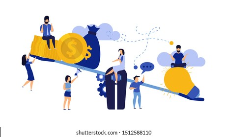 Money balance on scale comparison equilibrium vector business illustration. Idea light bulb and gold coin finance. Man and woman concept income investment earning. Profit work report weight cashflow