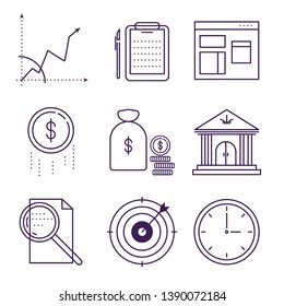 Money and bank symbols object vector outline icons.