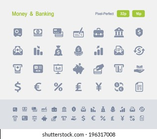 Money & Banking Icons. Granite Icon Series. Simple glyph stile icons optimized for two sizes.
