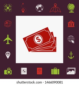 Money banknotes stack with dollar symbol, icon. Graphic elements for your design
