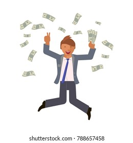 Money bills fall on businesswoman jumps with happiness. Business people jumping up celebrating success. Flat vector illustration eps 10
