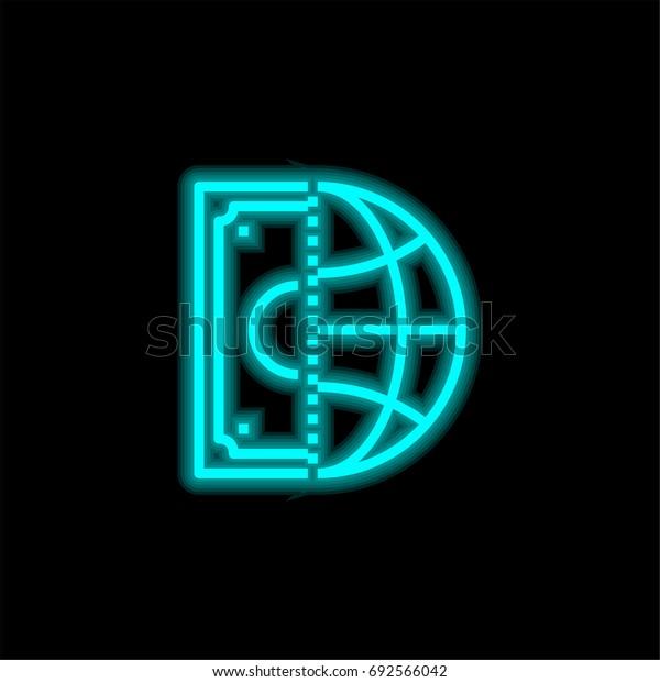 Money blue glowing neon ui ux icon. Glowing sign logo vector