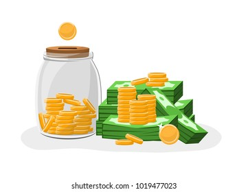 Money box glass jar filled with gold coins  and dollars banknotes piles.