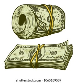 Money bundle isolated on white. Vector illustration