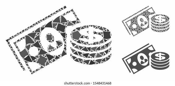 Money cash mosaic of unequal items in variable sizes and color tones, based on money cash icon. Vector raggy items are united into collage. Money cash icons collage with dotted pattern.