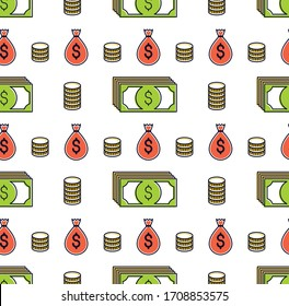 Money cash seamless background, dollar currency money signs, backdrop for financial business website or economical theme ads and information, vector wallpaper or web site background.