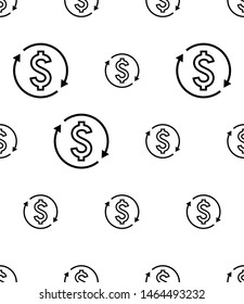 Money Change Icon Seamless Pattern, Currency Change Icon Vector Art Illustration