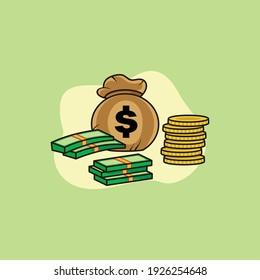 money character mascot logo design vector illustration