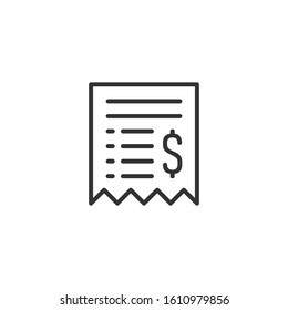 Money check icon in flat style. Checkbook vector illustration on white isolated background. Finance voucher business concept.