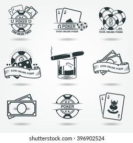 Money, chips, whiskey. Casino, Poker logos. Set of vector icons.