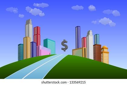 money city,finance concept illustration