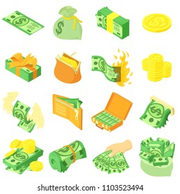 Money coin dollar icons set. Isometric illustration of 16 money coin dollar vector icons for web