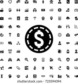Money coin icon. set of filled business icons. can be used for web and mobile.