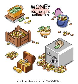 Money (coins and bills) stored in box, buckets, safe, bowl and treasure chest (Isometric vector items)