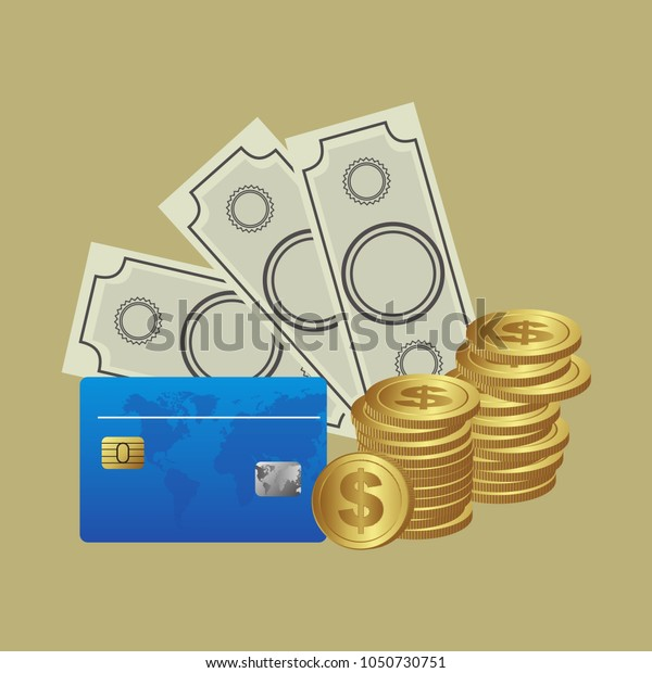 Money. Coins with dollars and credit card. Vector illustration