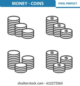 Money - Coins Icons. Professional, pixel perfect icons optimized for both large and small resolutions. EPS 8 format. 5x size for preview.