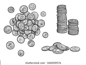Money, coins illustration, drawing, engraving, ink, line art, vector