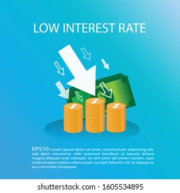 Money coins with many arrow pointing down. Low interest concept. Banking loan finance concept. EPS10 vector illustration.