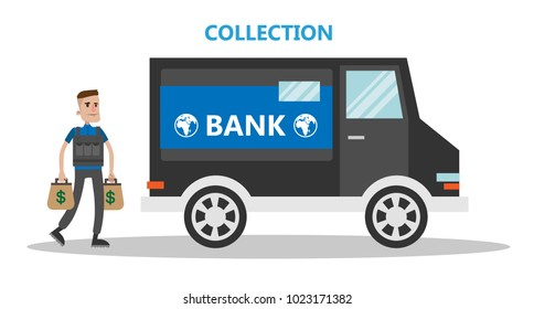 Money collector armored truck. Working in bank.