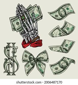 Money bunter Vintage-Elemente-Konzept mit amerikanischen Währungs-Wechsel Bug-Krawatte Dollar-Banknoten Skelett Hände mit Ring-und Gold Armband hält Dollar-Noten einzelne Vektorgrafik