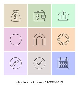 money compass  wallet bank  shapes  electronic  time  ecology  icon vector design  flat  collection style creative  icons  traingle  square  hexagon  pentagon  battery  electricity