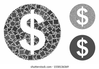 Money composition of unequal pieces in variable sizes and color tones, based on money icon. Vector tremulant elements are combined into collage. Money icons collage with dotted pattern.