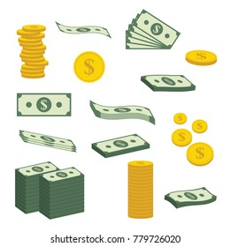 Money Concept. Big pile of cash, bank notes, bills fly, gold coins, hundreds of dollars. Vector isometric illustration.