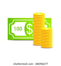 money concept icon - dollar note and coins