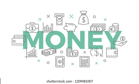 MONEY. Concept with icons and signs.