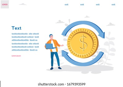 Money convert concept. online course about money. Vector illustration for web banner, infographics, mobile