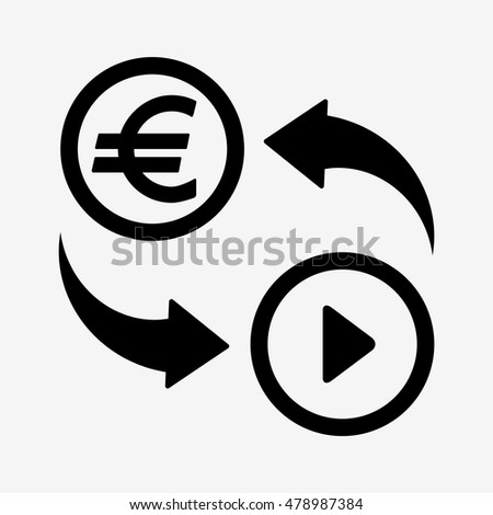 Money convert icon. Euro currency for video. Flat design style