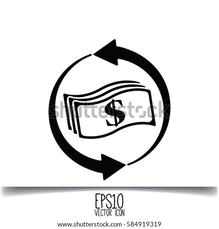 Money Convert Icon Flat Style Graphic Stock Vector (Royalty Free
