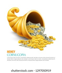 Money cornucopia as symbol of Generosity success luck wealth on business realistic design concept vector illustration