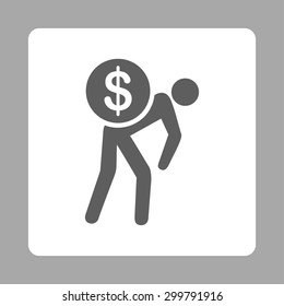 Money courier icon. Vector style is dark gray and white colors, flat rounded square button on a silver background.